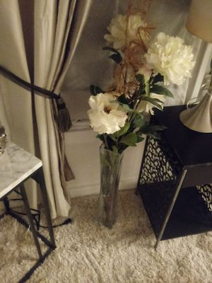 Floor glass vase with artificial garden flowers for Sale in Taunton, MA