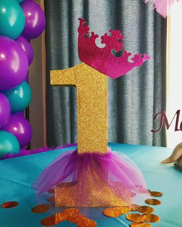 Tutu table skirt, topiary centerpieces, number 1