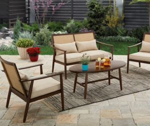 New!l 4 pc coffee table patio set, outdoor conversation set, chat set, patio furniture , beige and brown for Sale in Phoenix, AZ
