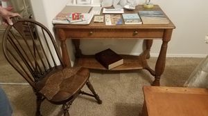 Antique Desk And Wicker Chair for Sale in Litchfield Park, AZ