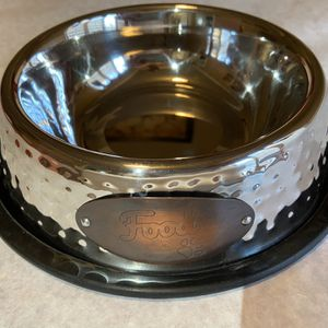 """Stainless Steel Bowl With Copper """"Food"""" Label With Black Non Skid Rubber Base for Sale in Tustin, CA"""