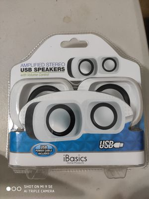 Basics Amplified Stereo USB Dual Speakers with Volume for Sale in Alsip, IL