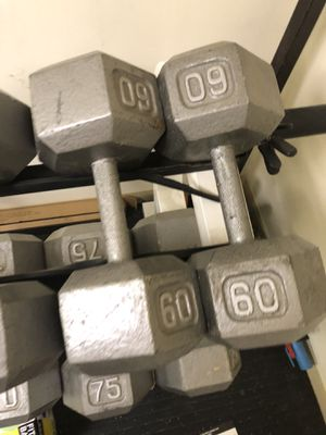 Dumbbell hex weights pair of 2 for Sale in Wexford, PA