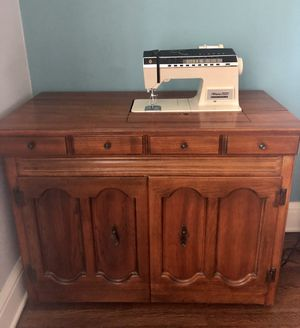 Oak Sewing Machine cabinet with Singer Athena 2000 Sewing Machine for Sale in Minneapolis, MN