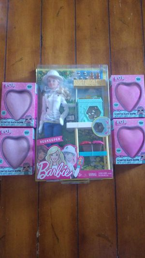 New girls toy lot Barbie beekeeper doll and LOL bath bombs with surprises inside 🐇🎁 birthday Easter basket for Sale in Gilbert, AZ