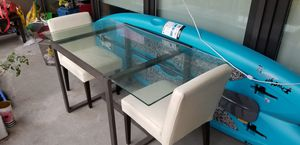 Heavy duty glass table with two leather chairs for Sale in Portland, OR