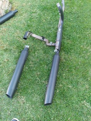 Harley-davidson complete exhaust blacked out chunky for Sale in Hayward, CA