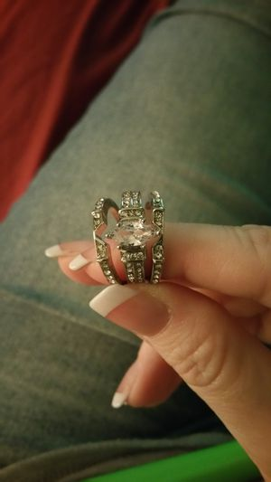 3 piece Silver Marquise Cut White Sapphire Wedding Ring Set for Sale in Smyrna, TN