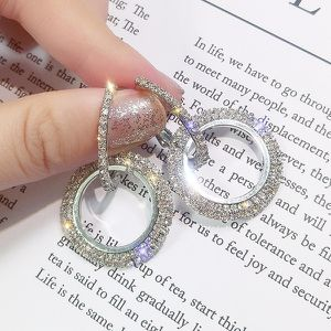 Full Crystal Circle Earrings for Women Luxury Round Shiny, Silver Color for Sale in Los Angeles, CA