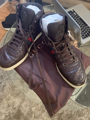NIB GUCCI BROWN LEATHER GG GUCCISSIMA WEB HI TOP SNEAKERS size 11 Men's for Sale in New York, NY