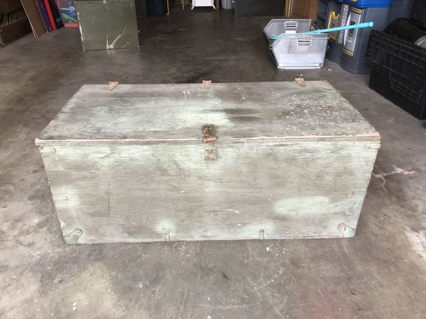 Antique Army wood trunk