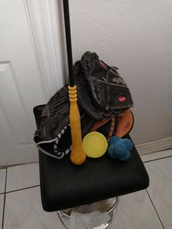 Softball stuff .... All you see.. Spin Right And Batting Stick Helps With batting , While Reaction Ball Helps For Defense Reaction With Few Gloves for Sale in Santa Ana,  CA