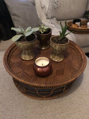 Large rattan / bamboo tray / plant stand - bohemian 1960's mid century for Sale in Virginia Beach, VA