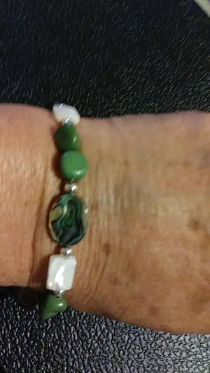 mother of pearl and abalone gemstones, sterling silver clasp. for Sale for sale  Palmetto, FL