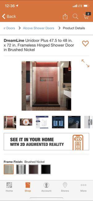 NEW Dreamline Unidoor Plus 47.5-48 x 72in frameless hinged shower door- brushed nickel for Sale in FT SM HOUSTON, TX