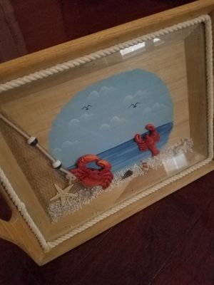 Beach nautical inspired serving tray with glass top for Sale in Tarpon Springs, FL