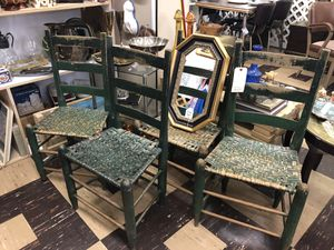 Antique Farmhouse Chairs Set Of 4 Green Ladder Back Woven Vintage for Sale in Nashville, TN