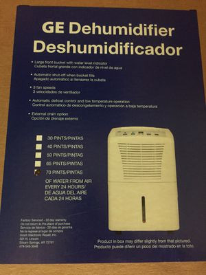 GE Dehumidifier for Sale in North Bethesda, MD