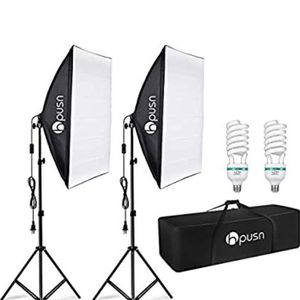HPUSN Softbox Lighting Kit Professional Studio Photography Equipment Continuous Lighting with 85W 5400K E27 Socket and 2 Reflectors 50 x 70 cm and 2 B for Sale in Moreno Valley, CA