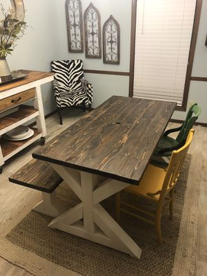 Farmhouse table with bench 5 foot long for Sale in Fort Smith, AR