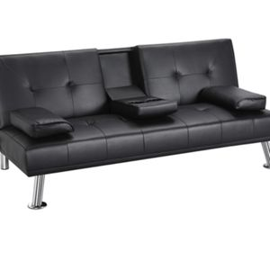 LuxuryModern Faux Leather Reclining Futon with Cupholders and Pillows, Black for Sale in Irvine, CA