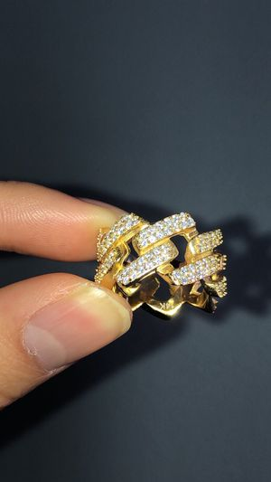 Sizes 6,7,8,9,10 Gold iced out Vermeil Cuban Link Ring for Sale in Lawndale, CA