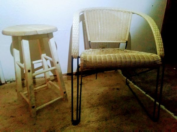 Stool and/or wicker patio chair $5 for both