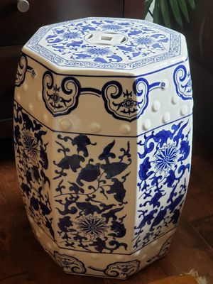 China Blue Porcelain Glass Octogonal Side Table Accent Decor for Sale in Bothell, WA