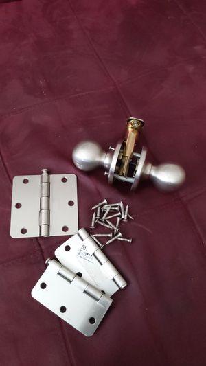 Brushed satin nickel set; hinge & knob set for Sale in Columbus, OH