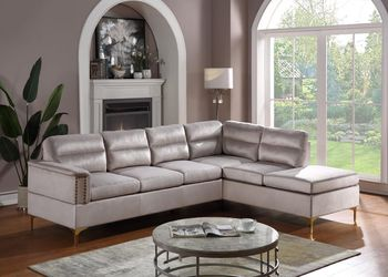 Grey Velvet, Gold Metal Legs, Sectional - 4 colors available, same day delivery & set up, only 39$ down take home today for Sale in Katy,  TX