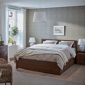 Wooden queen size bed frame with drawers for Sale in Los Angeles, CA