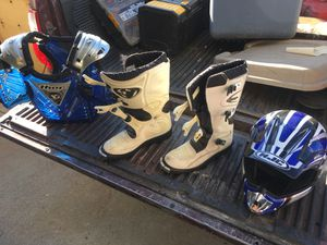 Youth Motocross Gear Thor Boots Thor Chest Guard HJC Helmet for Sale in Baldwin Park, CA