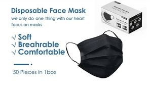 New Upgraded 4-Layer Disposable Face Mask 50 pics black for Sale in San Diego, CA