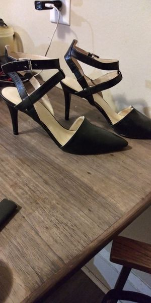 Nine west black ankle strap heels for Sale in Akron, OH