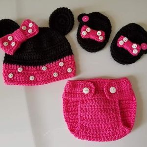 Crochet Baby Girl Minnie Mouse Outfit Photo Prop for Sale in Plant City, FL