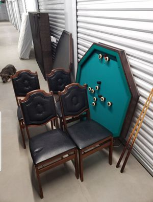 Vintage 3 in 1 Bumper Pool/Poker/DiningTable With Matching Vintage Foling Chairs for Sale in Westminster, CO