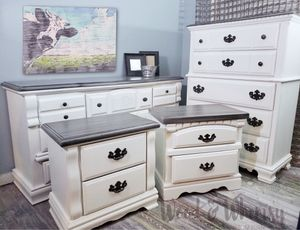Complete Farmhouse Bedroom Set 4 Pc Dresser Chest Nightstands $185 Down for Sale in Lithonia, GA