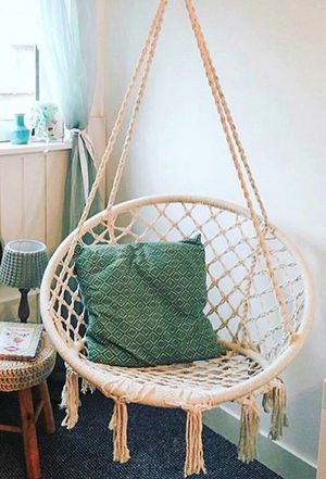 "New in box 32"" wide x 47"" inches tall hanging Hammock Chair Macrame Swing Boho Style Cotton Rope Chair Indoor Outdoor 260 lbs Capacity for Sale in South El Monte, CA"