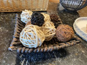 Set of Wicker ball decor...add to any basket for a very cute look! (Baskets not included just for display and ideas) for Sale in Seattle, WA