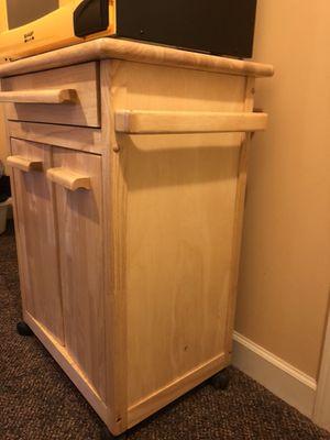 Oak wood rolling cabinet. Two door two drawers for Sale in Leesburg, VA