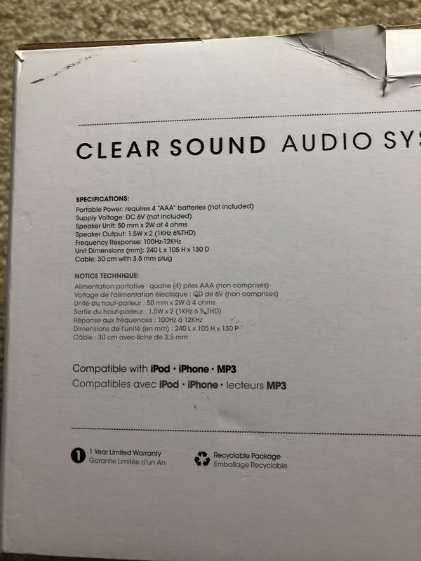 iWorld Clear sound audio system