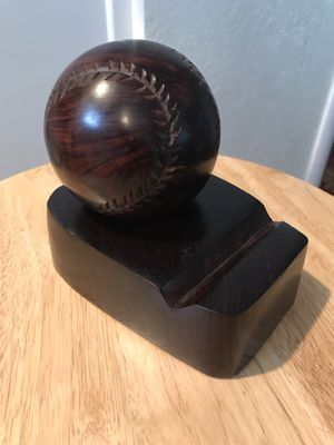 Hardwood Sculpture of a Baseball With Stand for Sale in Pacific Grove, CA