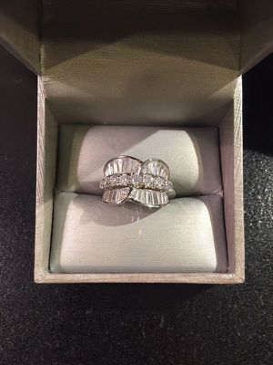 18K Gold plated Ring - baguette Cut Diamonds -Emerald for Sale in Dallas, TX