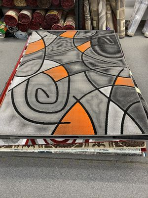 Orange and grey color area rug brand new 5x7 foot thick quality for Sale in Salem, OR