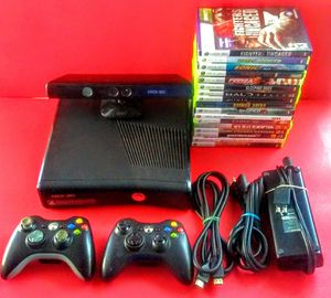 Xbox 360 slim with 17 games including Grand Theft Auto and 2 wireless Controllers and Kinect sensor for Sale in Bakersfield, CA