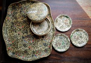 Vintage Papier Mache serving tray & coasters for Sale in Norfolk, VA