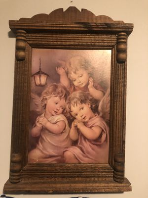 Old wooden angel baby picture for Sale in Kansas City, KS