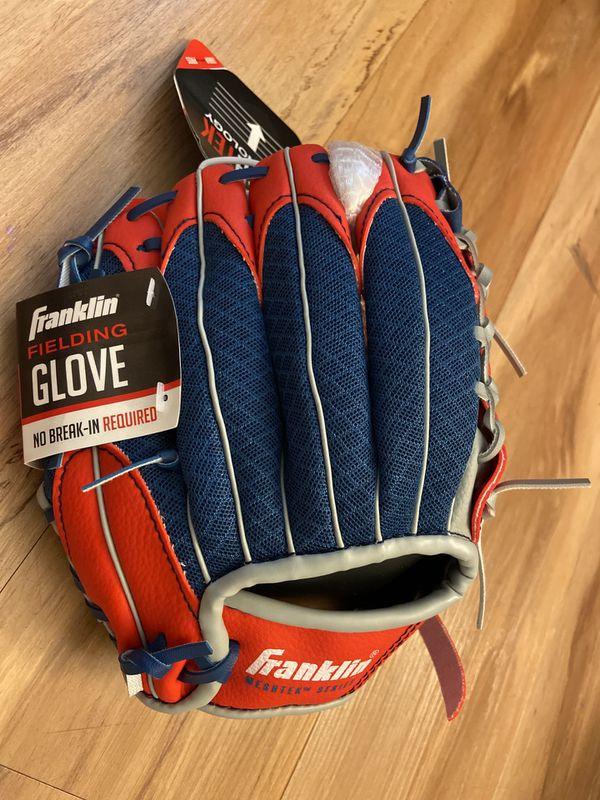Franklin Mesh Tek Red White Blue Youth Tee Ball Baseball Glove & Ball