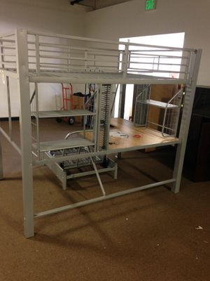 Small loft bed computer desk with loft with futon chair for Sale in Baltimore, MD