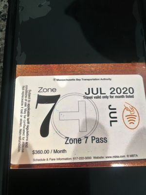 July 2020 monthly MBTA pass for $100 price to sell cost more then $340 for Sale in Framingham, MA
